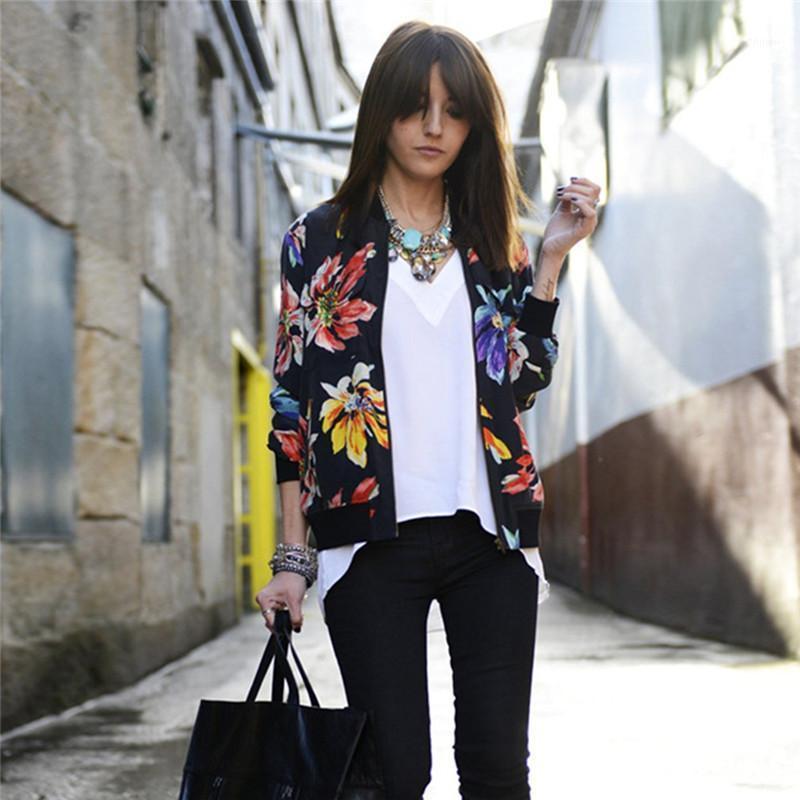 Дамы черный цветочный принт с длинным рукавом бомбардировщик женская весна осеннее пальто женский винтаж молния этническая куртка базовый парусник
