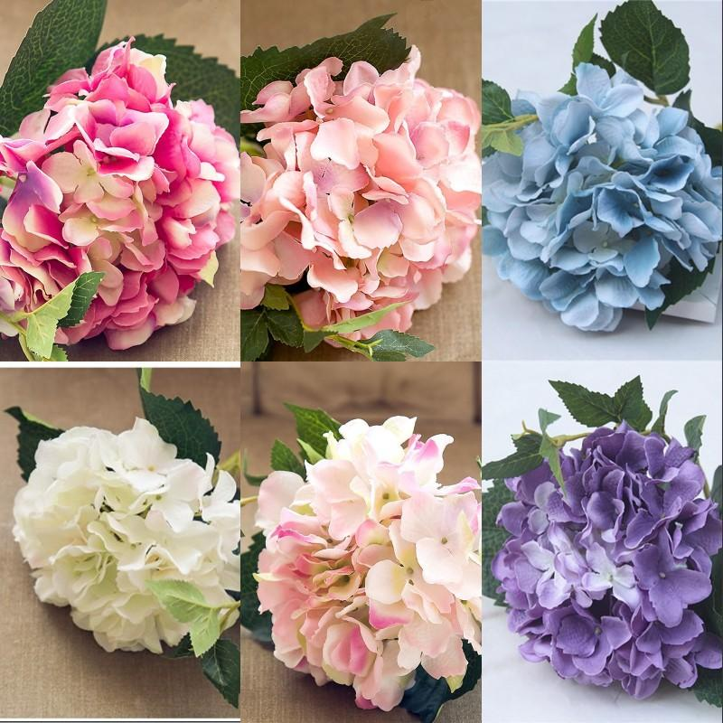 6 Renkler Ipek Çiçek 46 cm Düğün Süslemeleri Yapay Çiçekler Ev Otel Partisi Düğün Kutlama 46 cm Ortanca Çiçek 5 4Hz G2