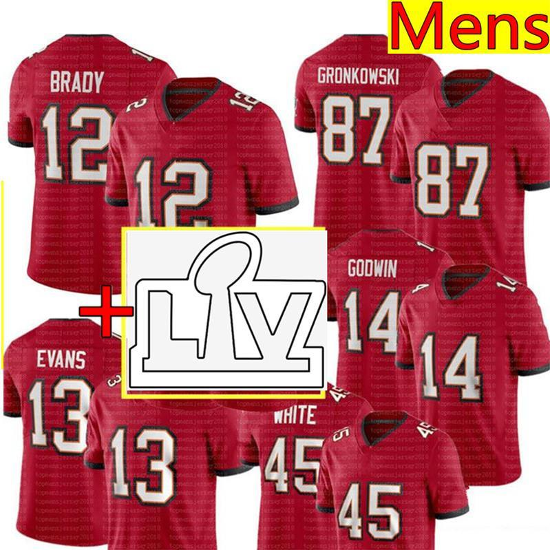 Tom Brady Jersey Rob Gronkowski Mike Evans Jersey Chris Godwin Devin White Antonio Brown Football Jerseys