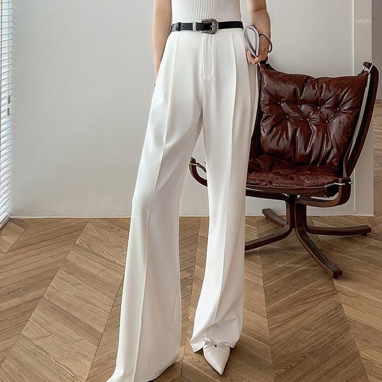 Bella Philosophy 2020 Повседневная Сплошные брюки для женщин Высокая талия Молния Кармана Большой Большой Размер Длинные Широкие Брюки Ноги Мода Одежда1
