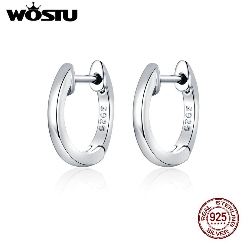 WOSTU Sıcak Satış Kadınlar Için 925 Ayar Gümüş Basit Hoop Küçük Küpe Düğün Nişan Takı Hediye