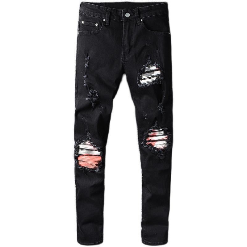 Nouveau Homme Pantalons Homme High Street Fashion Marque Automne Noir New Black genou trou Patch Jeans stretch Pantalon Slim