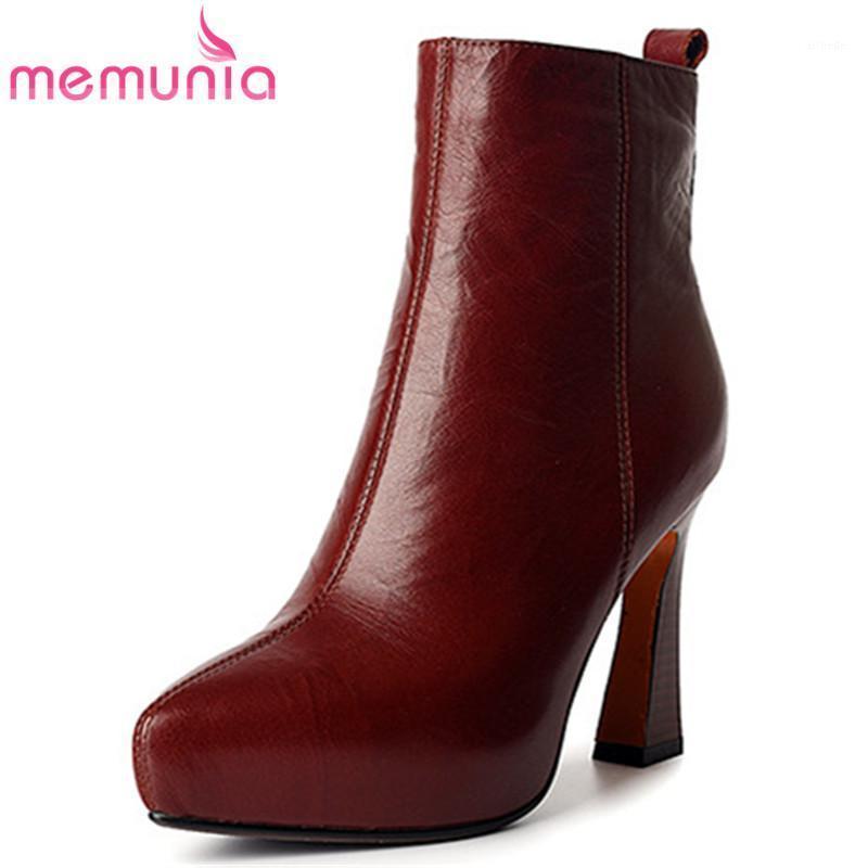 Stivali Memunia 2021 Vintage Genuine Pelle Scarpe Donne con punta Abito Abito Autunno Autunno Inverno High Heel Survella Donna1