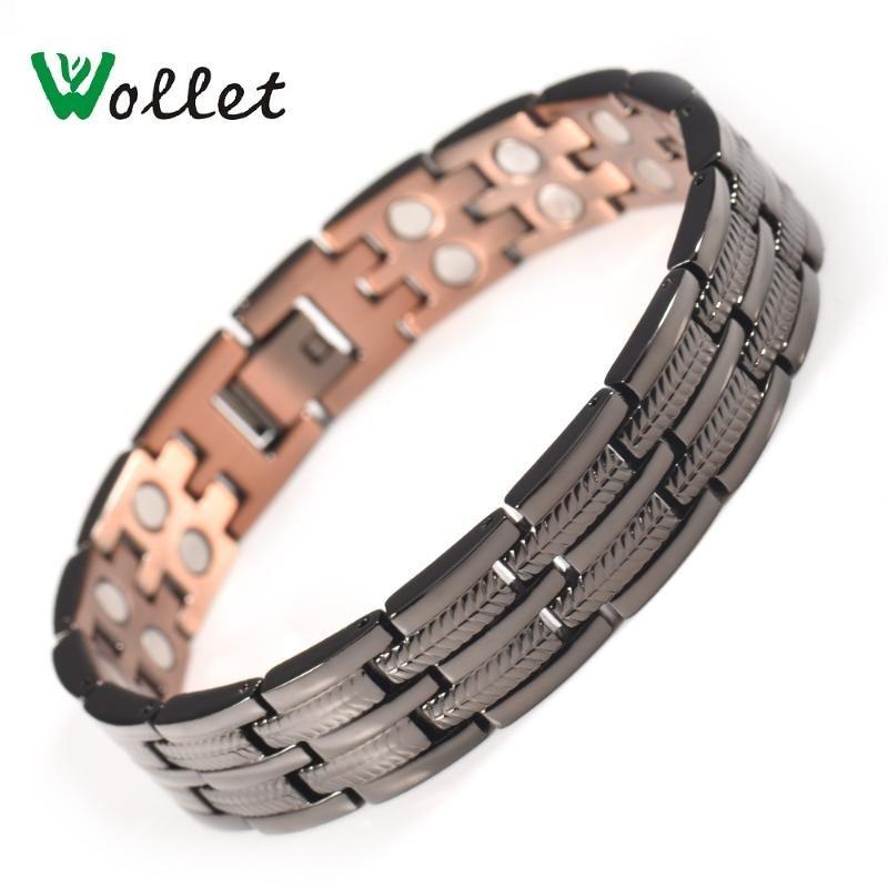 Wollte Schmuck Kupfer-Armband-Armband für Männer heilenden Energie-magnetische Therapie Aller Magnete Schmerzlinderung Schwarz Farbe