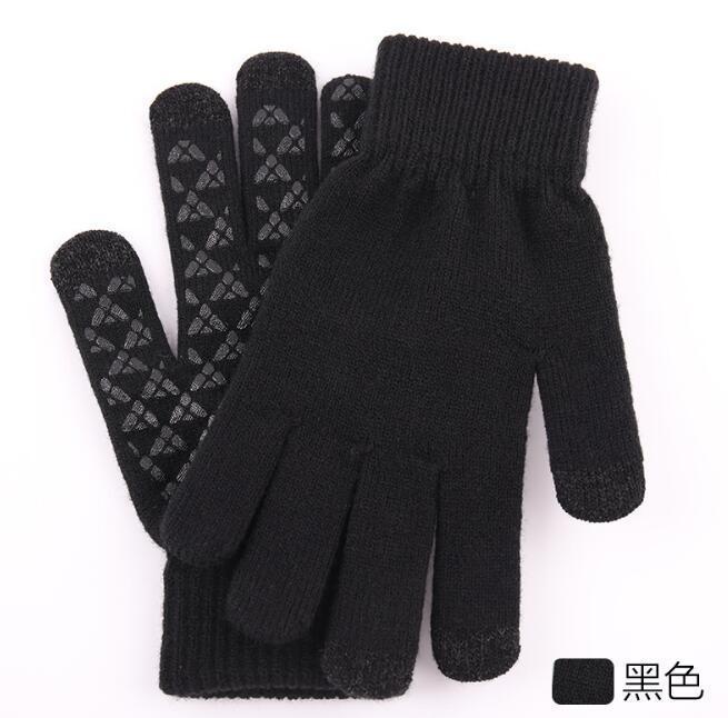 de invierno de punto guantes calientes de los hombres aumentó espesa lana antideslizante guantes de la pantalla táctil al aire libre