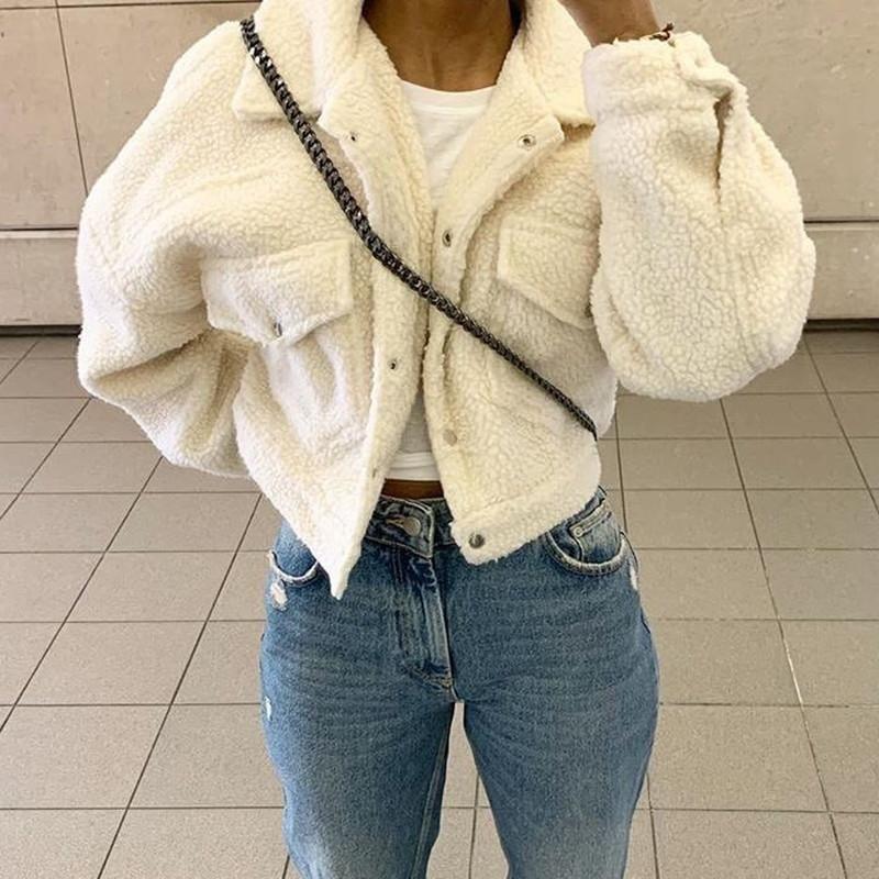 Зимний Теплого мягкого белого бархат короткой куртки Дамы Повседневного длинного рукав отложной воротник Руно пальто с карманами синего пальто