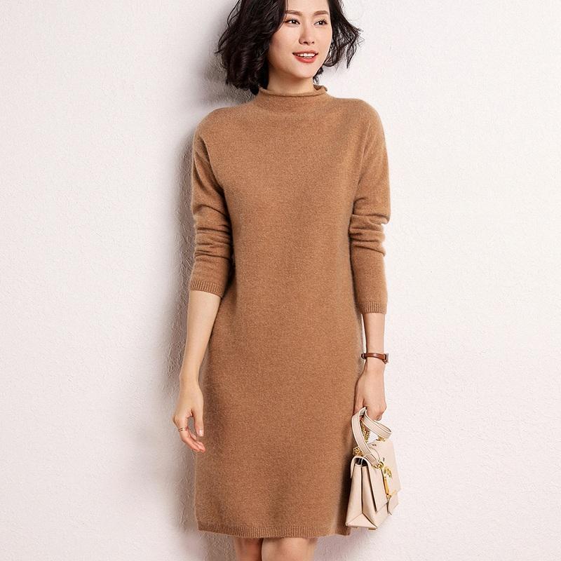 Mulheres Suavers 100% Cashmere Pullovers 2021 Inverno Nova Chegada O-Pescoço Vestidos Longo de Alta Qualidade Jumpers Knitwear Girl Roupas