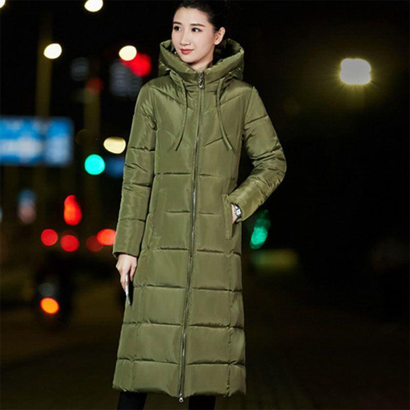 Winter warm dickerer Daunenjacke Frauen Casual Lange Kapuze Reißverschluss Daunenmäntel Damen Vogue Oberbekleidung 6XL Große Größe Synthetische Feder T200102