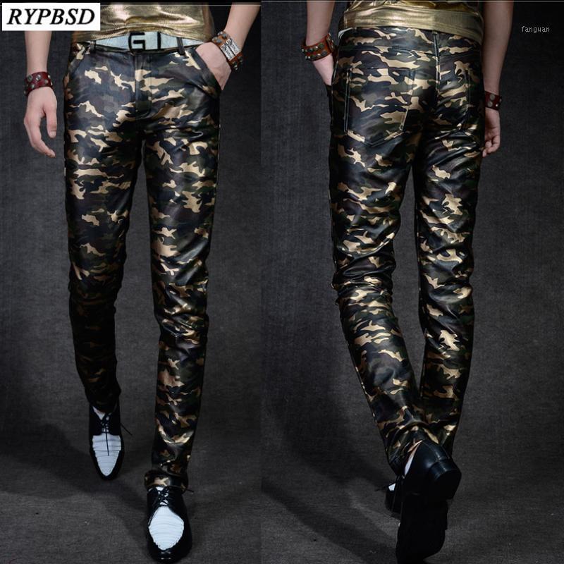 Calças de couro dos homens Slim Fit Camuflagem Calças Homens Outono Nova Moda Casual Alta Qualidade Pu Faux Couro Calças1