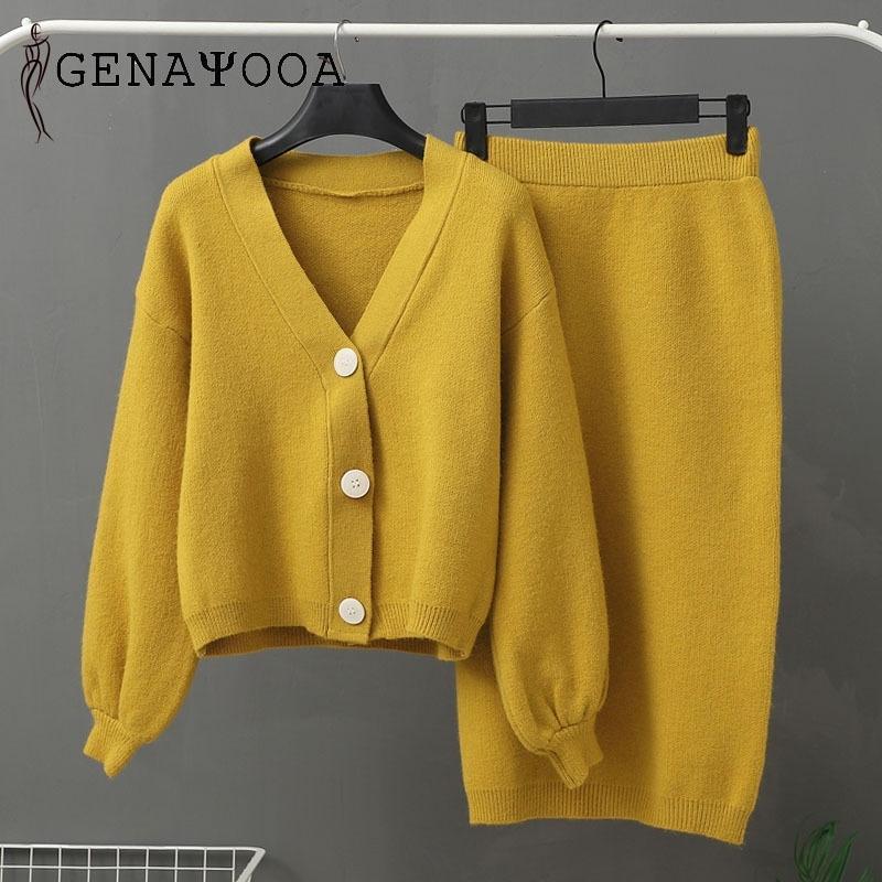 Genayooa вязаные женские набор из двух частей набор женщин 2 шт. Установленная свитер костюм старинные с длинным рукавом кардиган женщина MIDI юбка 201028