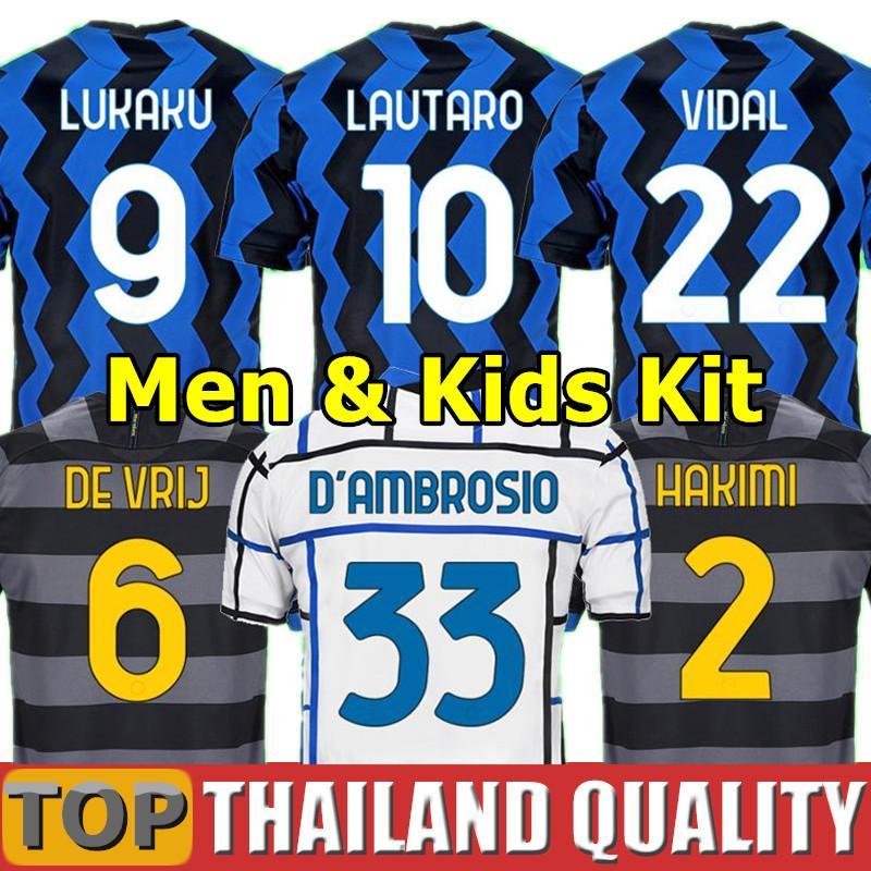 Inter de Milão camisetas de futebol ERIKSEN LUKAKU LAUTARO casa longe 2019 2020 2021 BARELLA 19 20 21 conjunto de camisa de futebol Homens Kids Kit uniformes