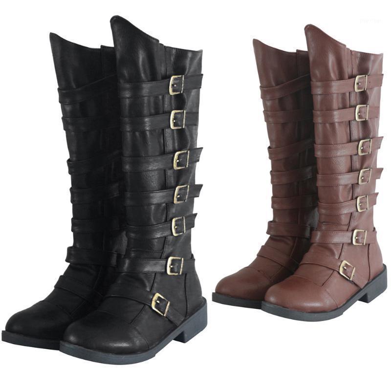 Mulheres Botas moda redonda dedo do pé de pé de couro baixo fivela cinta sobre o joelho cavaleiro ocidental botas femininas sapatos mais tamanho f50 # 1