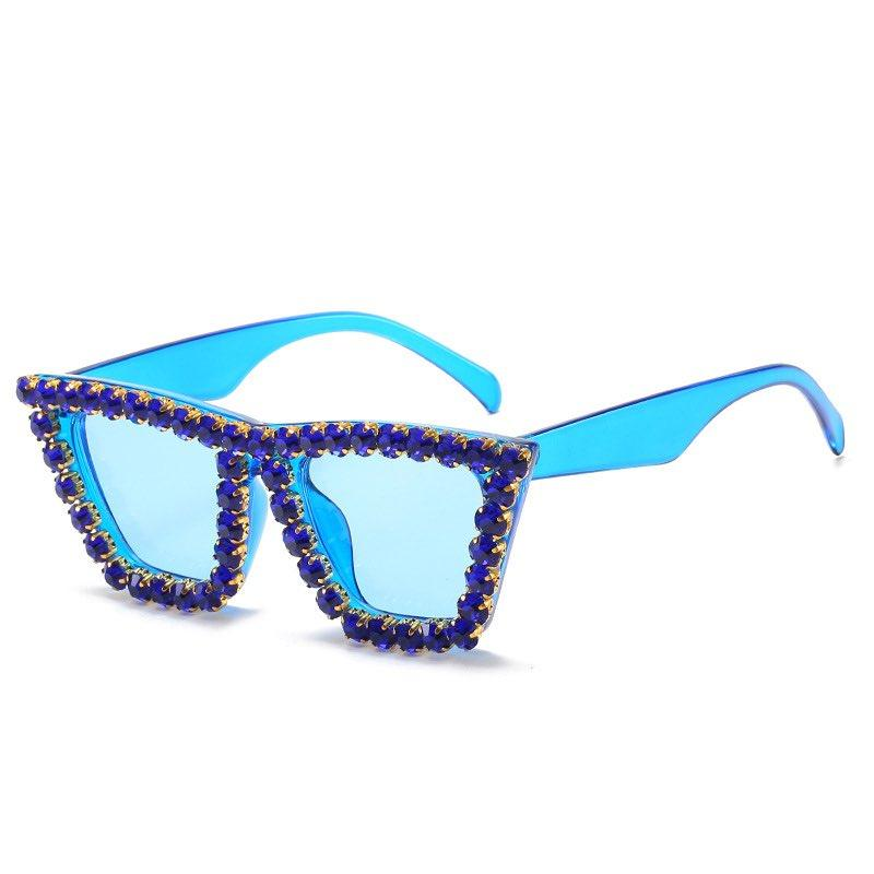 New Shiny Party Eyeglasses Full Rhinestones Sunglasses Trendy Handmade Diamond Sun Glasses UV400 6 Colors Wholesale