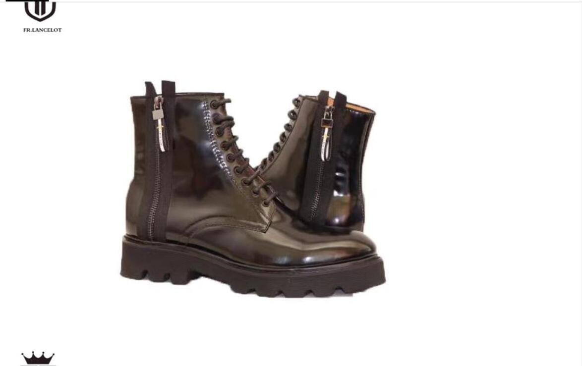 Neue Lederstiefel Männer Patent starke Ferse Männer Kurz Ankle Booties Gummisohle Parteischuhe schnüren Stiefel Lederstiefel bis