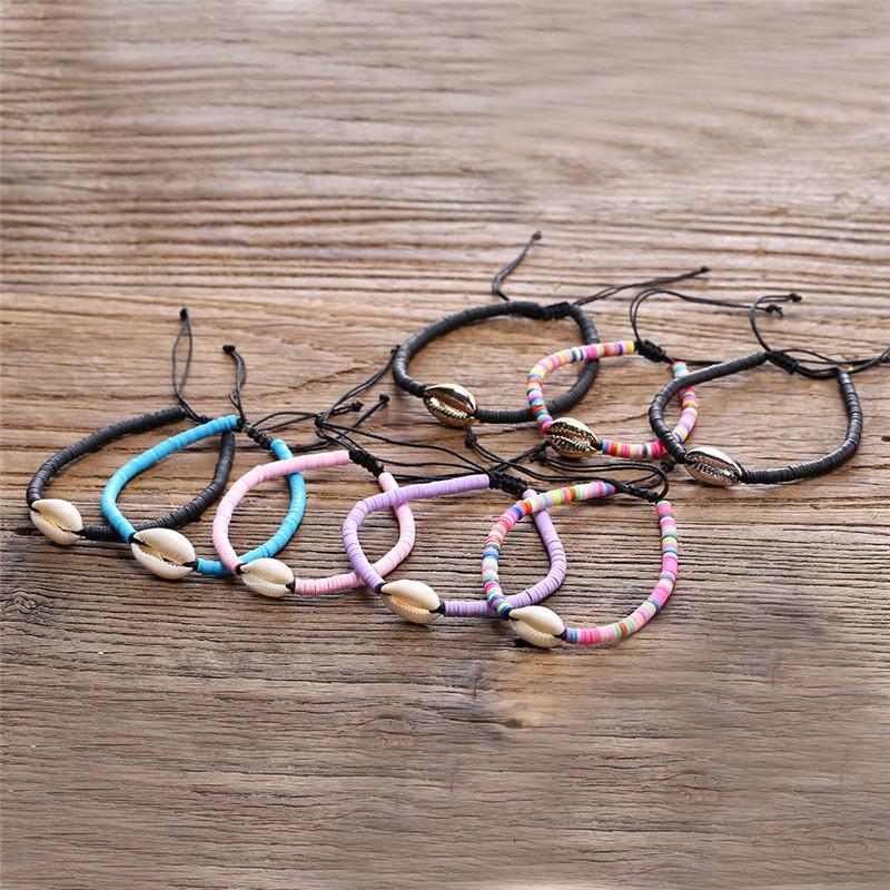Factory Price Price Unisex Bohmian Handmade Multi плетеный цвет смолы с тканым браслетом с оболочкой Летний пляж регулируемый
