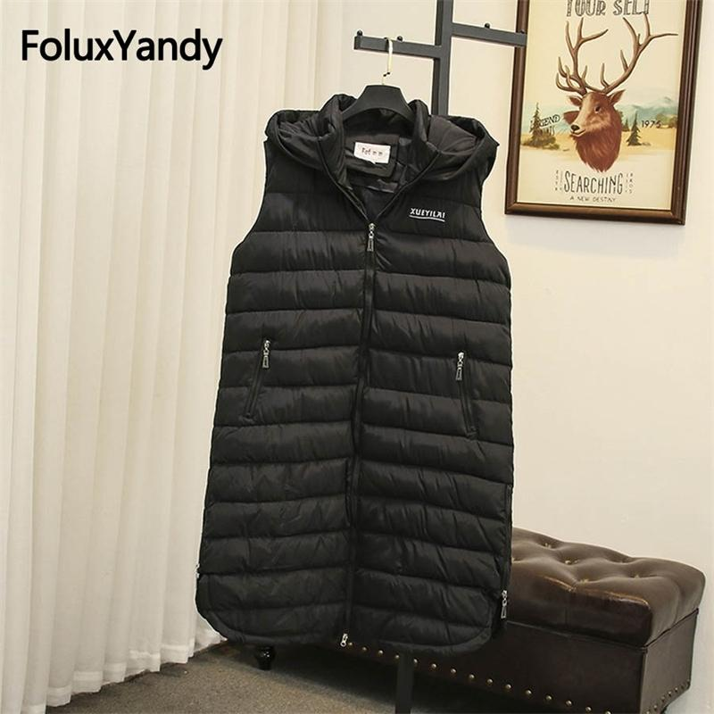Long Winter Vest Women Sleeveless Coats Plus Size 5XL Casual Hooded Warm Thick Vests Black Outerwear SWM1137 201016