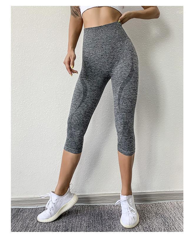 Jambières de sport sans soudure noire Femmes pantalons de yoga en relief Capris Slim Pantalons de course Slim Taille haute taille Gym Collants Femme1