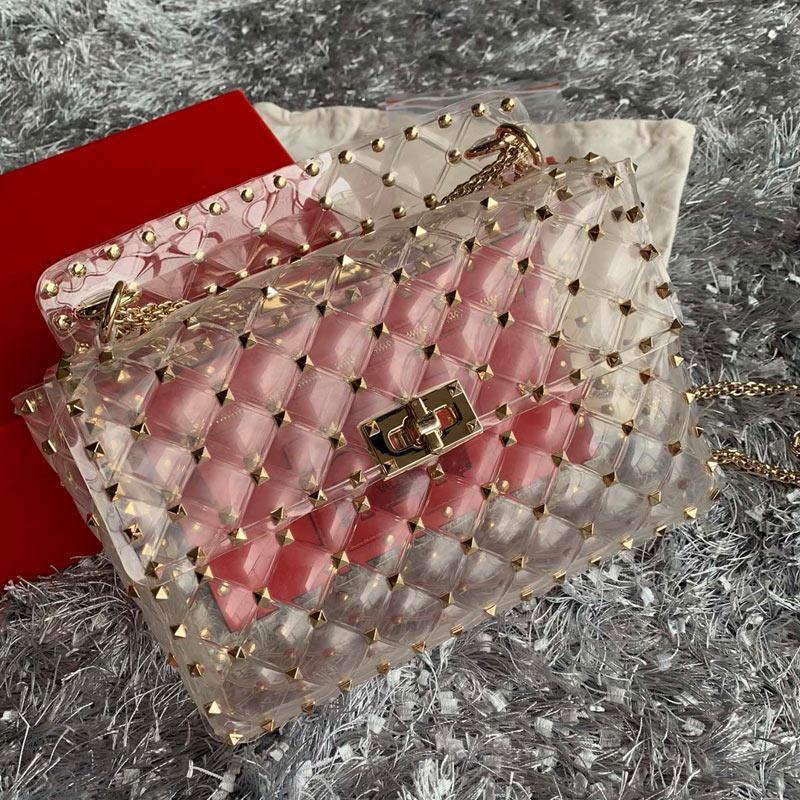 투명 패키지 메신저 가방 핸드백 패션 최고 품질 명확한 PVC 젤리 소재 양모 정품 가죽 걸쇠 여성 지갑