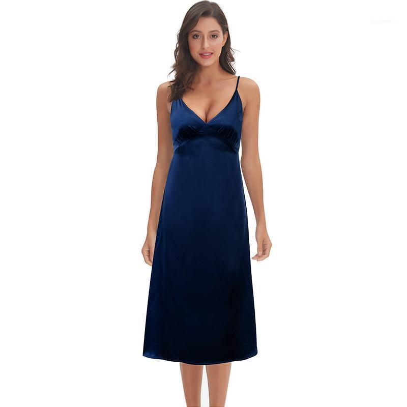 Повседневные платья женщины платье спагетти атласная длинная летняя элегантная V шеи Vestido очень мягкий гладкий M304201