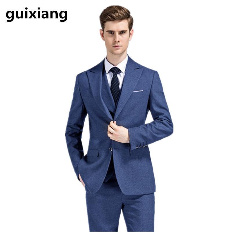 (Jacket + Vest + calça) Ternos único breasted 2020 novo estilo terno de lã de moda masculina Homens de alta qualidade ternos de casamento lã
