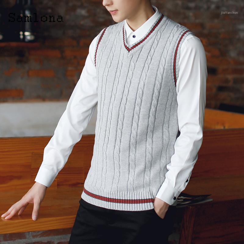 Hombres otoño suéter de invierno con cuello en v mangas sin mangas chaleco inteligente jerseys Slim Tocado Suéter más Velvet KPOP Estudiante Hombre Ropa 20211