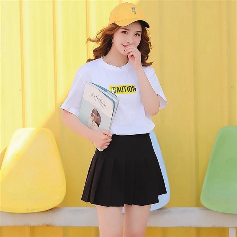 Artı boyutu Preppy Stil Harajuku Kısa Etek Kore Katı Etek Kadınlar Fermuar Yüksek Bel Japon Okulu Kız Seksi Pileli Etek