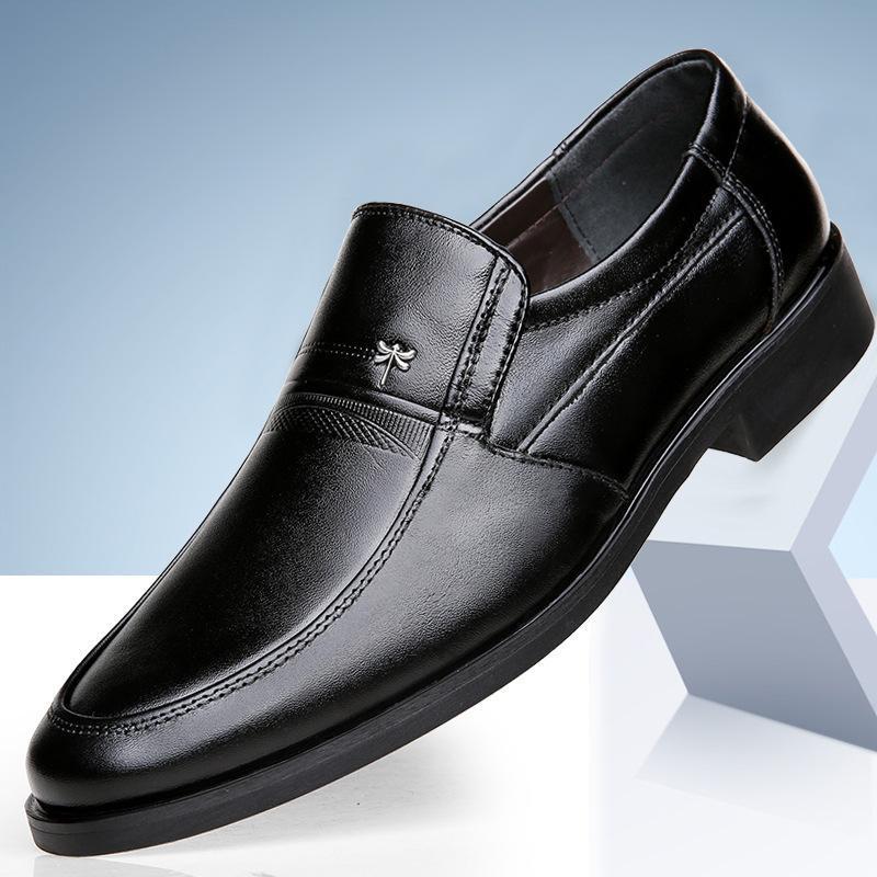 Homens Sapatos Primavera e Outono de Novos Negócios Vestido Marca Calçados Casual meia-idade, de pele masculino Pai Genuine