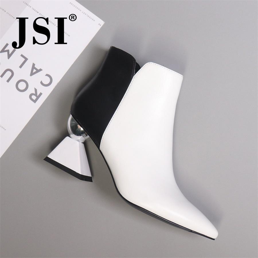JSI tornozelo Mulheres Botas Genuine couro preto Inverno de branco manual sexy da forma manter aquecido Sapatos mulheres botas altas de couro JC428 201020