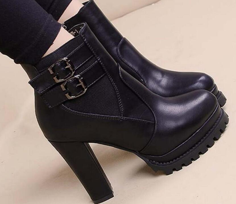 Europe The United States boots autumn winter high-heeled shoes chunky lady desert high heel ankle and velvet cotton 0004