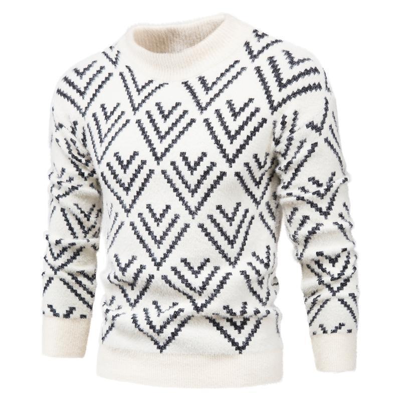 Nouveau 2020 Multi Rhombus Pullover Homme Half collier à manches longues à manches longues Slim Slim Sweaters Hommes Casual Sweach Homme Pull Vêtements