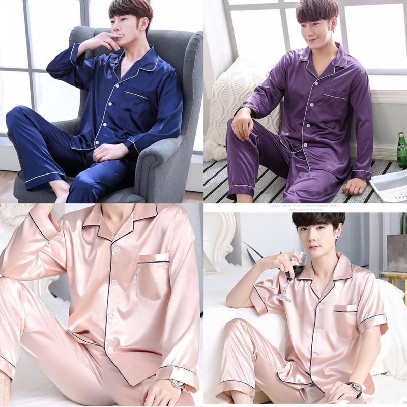pvjc costume satin hommes pyjamas ensembles de soie vêtement de nuit mode douce manches courtes longues pantalons deuxHomewear hommes loungewear pyjamas sportif pour
