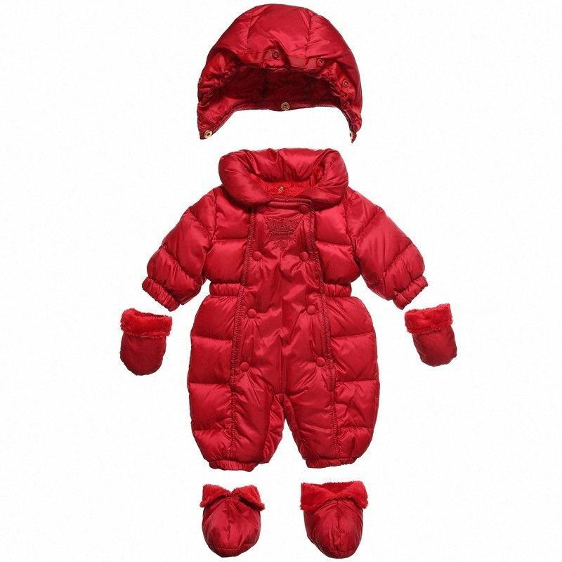 ropa del invierno del bebé del mono de los grandes de algodón grueso abrigo de invierno con capucha niña traje de escalada roja traje para la nieve recién nacido chaqueta NWRP #