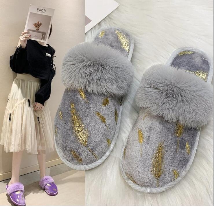 Шерстяные тапочки для мужчин и женщин 2020 осенью и зимы новой плоского каблука с плоским дном Баоей печататься пол зачистка моды перо в помещении кровати