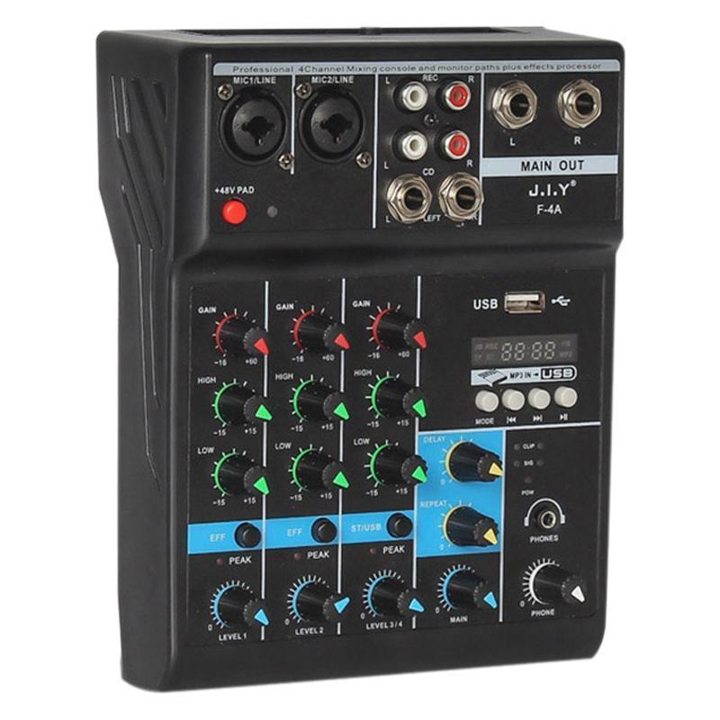 Portable o Mixer Professional 4 canaux Bluetooth Mixer DJ Console avec effet de réverbération pour USB Karaoké en direct KTV scène