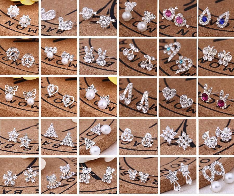 45 Stili Creative Ear Studs Fashion Fiocco di Snowflake Birra Crystal Rhinestone Orecchini perla per gioielli regalo EA080