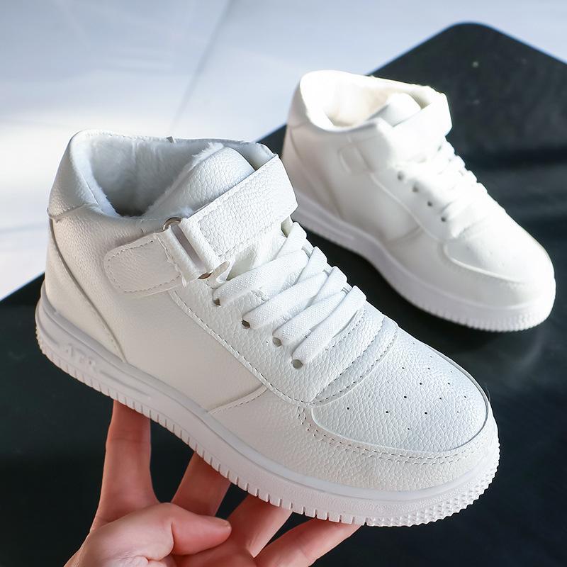 Niño Niña de bebé de cuero de los zapatos ocasionales del niño zapatillas de deporte suave plana de alta a prueba de agua Negro Blanco Rojo Bota Calzado niños Chaussure Enfant 201008