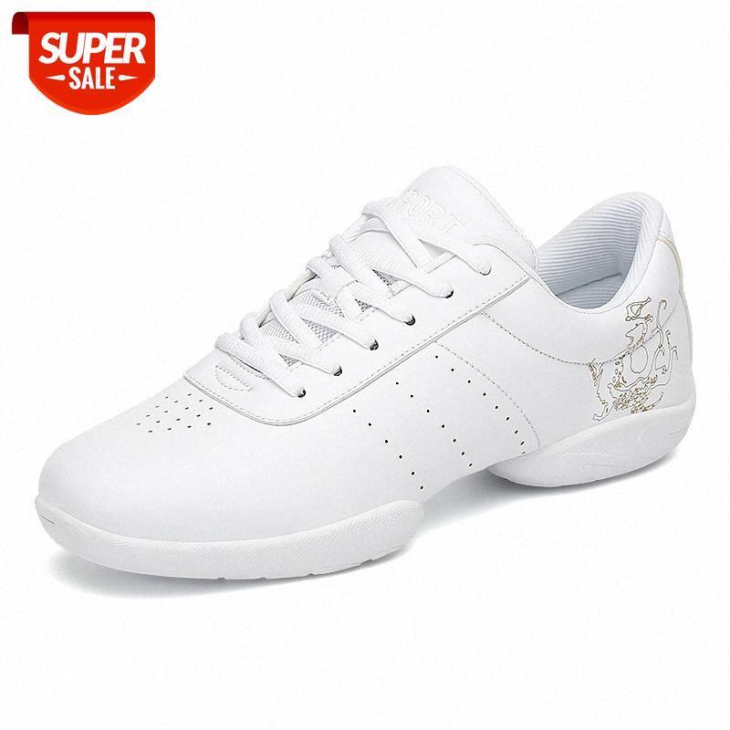 Белые аэробные туфли Детский взрослый фитнес обувь гимнастика спортивный джаз танец для женщин Черлидинг женские # BC4V
