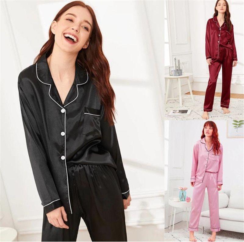 Lepal Boyun Bayan Pijama Iki Parçalı Pantolon Toprak Renk Pijama Gece Hırka Bayan Tasarımcı Giyim 2021