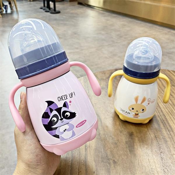 330мл Кормление с ниппель из нержавеющей стали Изолированная горячей воды бутылки утечки пуф тепловой чашки молока Термос для детей С1002