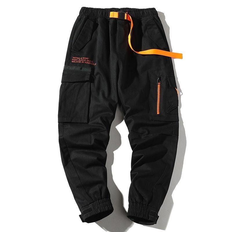 Autumn Mens Harem Pantalones Streetwear Jogger Cintas Pantalones Hombres Hip Hop Pantalones de carga Multi-Pantalones Pantalones Pantalones Carta impresa Y201123