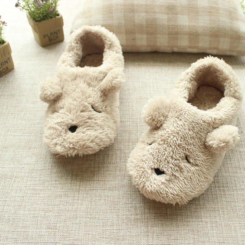 mujeres de la historieta de la felpa del oso del otoño y del invierno en zapatillas de casa linda libre del envío pantuflas animales adultos mocasines X1020