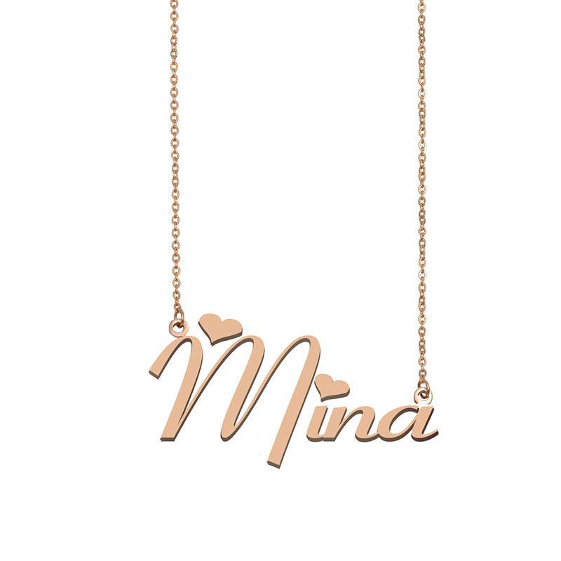 Colgante de la placa de identificación del collar de Mina nombre personalizado para muchachas de las mujeres del regalo de cumpleaños para niños mejores amigos joyería 18k chapado en oro de acero inoxidable
