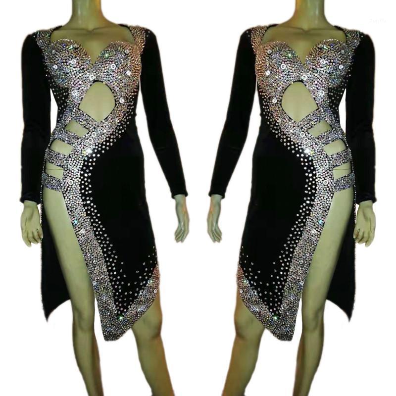 Sahne Giyim Kadın Latin Dans Kostüm Siyah Kadife Tam Rhinestones Backless Yarık Elbise Akşam Parti Balo Kristal Singer1