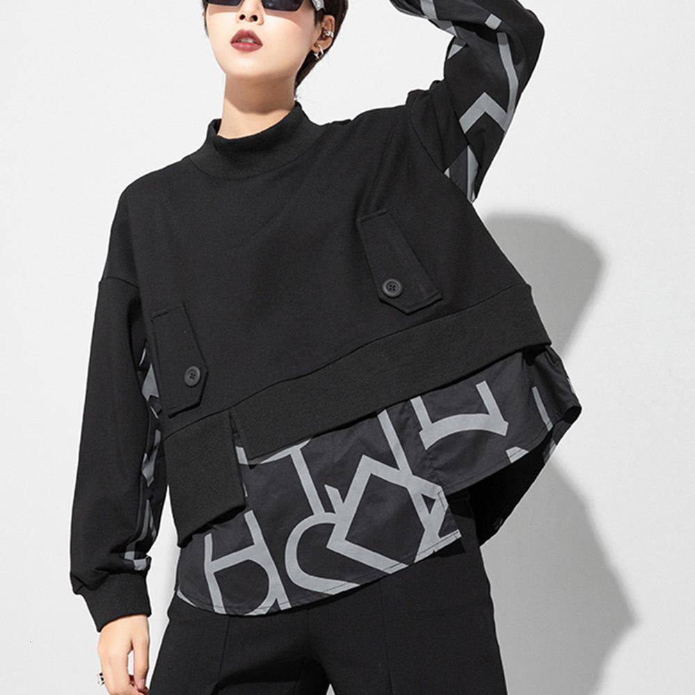 Goth Hoodie Falso 2 Pieces Patchwork camisola Mulheres Casual solta BF Estilo Harajuku Chic Feminino pulôver Streetwear na moda