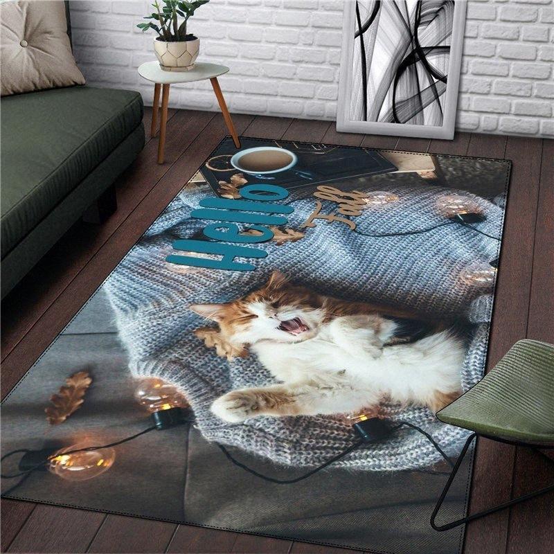 Alfombra Animal Gato Inicio Plaza de la alfombra de regalo de Navidad Tapetes Moda dormitorio Baño Cocina Sala de Alfombras nave de la gota i6Oj #