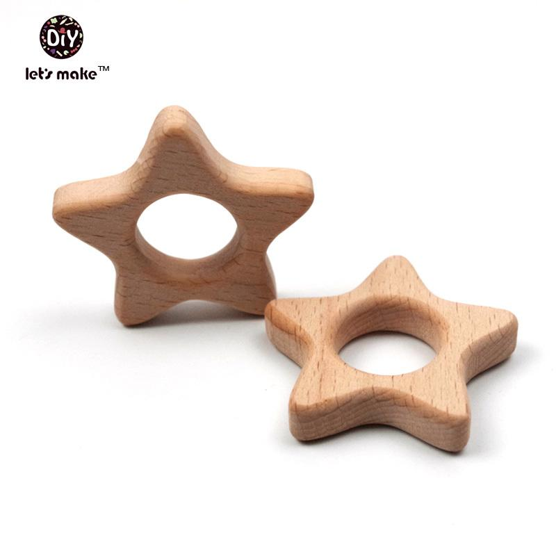Hagamos 20pcs / lote estrellas de madera Details Anillos Anillos Juguetes de madera DIY Pindet Set 201017