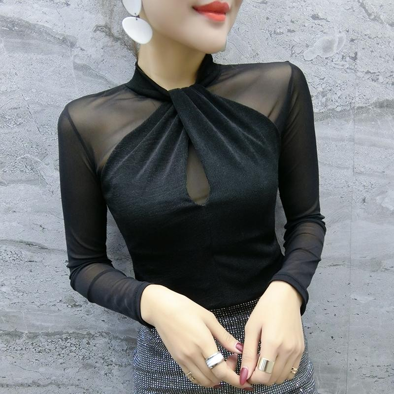 Top da donna e camicette Primavera New Sexy Mesh Cross Transparent Chiffon Camicia a maniche lunghe Plus Size Camicia Camicetta 81J 201201