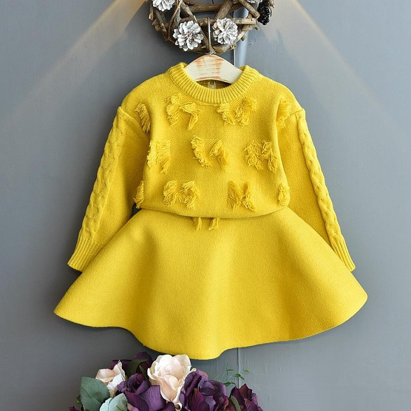Baby Girls Одежда осень зима детская одежда для девочек набор вязание свитер + юбка спортивный костюм для девочек детская одежда для девочек 201126