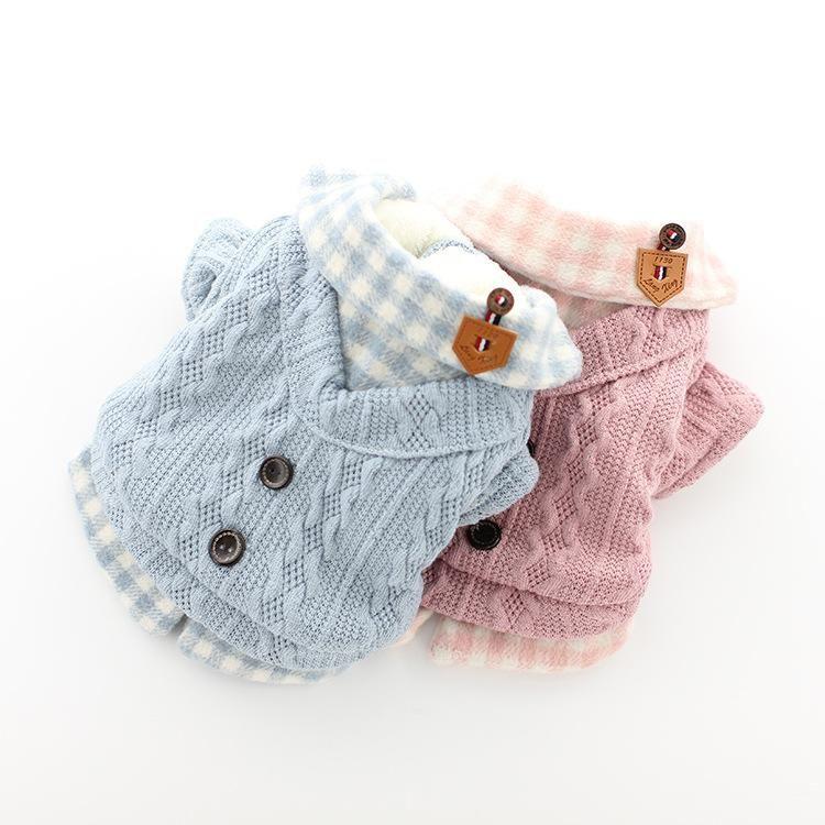 Осень теплая собака свитер Paid Собака Jumper Coat Fannel Внутри Teddy Пудель XS S M L XL