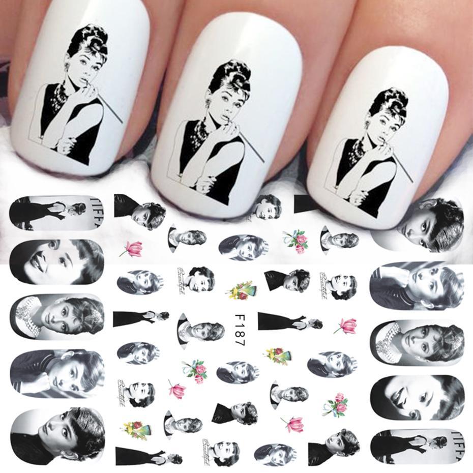 Hepburn Sliders для ногтей Надписи Письмо Мэрилин Наклейки Наклейки Человеческое лицо Маникюр Ногтей Искусство Украшение Обертывания CHF185-193